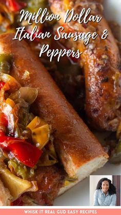 Italian Sausage and Peppers is a breeze to whip up. Baked Sausage and peppers make a great trusty and quick weekday meal! Whether it's for lunch or dinner, It's sure to satisfy the hungriest of appetites. #sandwich #sausage #peppers #whiskitrealgud @whiskitrealgud   whiskitrealgud.com Quick Dinner Recipes, Brunch Recipes, Drink Recipes, Easy Recipes, Healthy Recipes, Easy Weeknight Meals, Easy Dinners, Sandwich Recipes, Pork Recipes