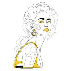 In Lemon Duvet Cover by Explicit Design - Queen: x Line Art Design, Design Design, Abstract Face Art, Outline Art, Art Drawings Sketches, Minimalist Art, Female Art, Art Inspo, Illustration Art