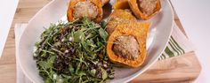 Michael prepares an update to an American classic, turkey meatloaf and Butternut squash. Arugula and rice salad