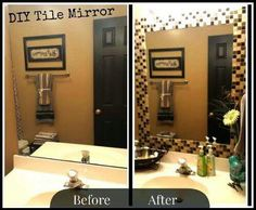 Added Strips Of Peel And Stick Tile To Edge Of Mirror