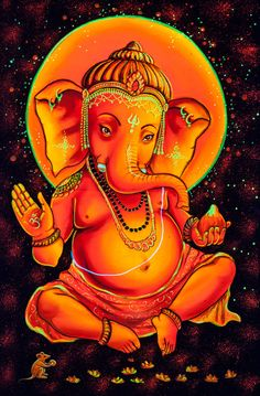 Lord GANESHA Psychedelic Art Hand Painted by Psientistgifts