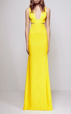 Lise Satin Crepe V Neck Gown by ALEX PERRY for Preorder on Moda Operandi