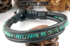 B-555 Turquoise,Magnetic Hematite Stone & Leather Bangle Wristband Men Bracelet.