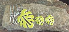 Lime Green Leaf Jewelry Set Leaf Necklace and by PassingTides