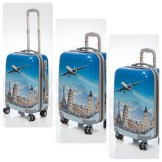 conjunto de 3 Maletas de viaje modelo World, son unas maletas duras de 4 ruedas de goma silenciosa, con diseño muy moderno