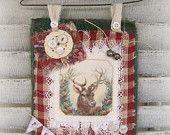 Handmade Christmas Reindeer  Decoration Christmas Collage Hanging Vintage Style Fabric Collage  Red White Christmas Vintage Reindeer