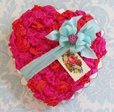 DIY Crepe Paper Flowers Heart Shaped Candy Box