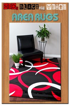 Red Black And White Area Rugs