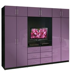 Wall Unit Aventa Wardrobe Wall Unit for TV and Wardrobe - Colored Glass Fronts French Lilac Color
