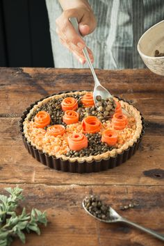Have fun & use a variety of lentils to create a mosaic pattern on top of this protein & fiber rich Gluten Free Lentil Tart with Carrot Flowers & Lentil Crust.  Click for the recipe.    #LetsLentil