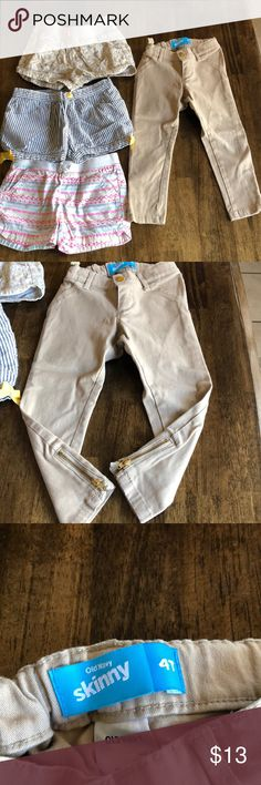 Girls toddler lot Skinny khaki pants are a 4t and feature a zipper on the bottom, the shorts are all 5t. Brands are Old Navy, Cherokee, and Gymboree. Bottoms