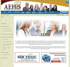 Screencap of AEHIS website I designed for a new CHIME association. Instructional Design, My Design, Education, Website, Industrial Design, Onderwijs, Learning