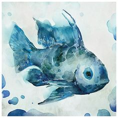 Watercolor Sea Creatures I Canvas Art - Vittorio Milan x My Canvas, Canvas Wall Art, Watercolor Sea, Kid Bathroom Decor, Print Artist, Art Print, Texture Art, Sea Creatures, Art Pictures