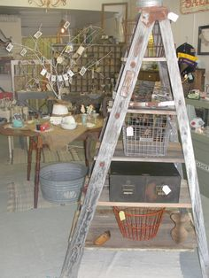 Ladder made into shelving! By Weltha's Vintage Market, Hollister, Mo.