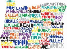 OREGON State Digital Illustration Print with Cities Portland Medford State Of Oregon, Oregon Coast, Oregon Map, Oregon Living, Pleasant Hill, Portland Oregon, Medford Oregon, Digital Illustration, In This World