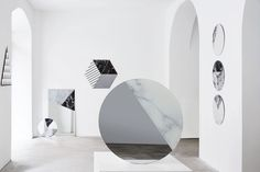 Armando Bruno has gone back to the drawing board for his One to One collection with a new round of geometric mirrors with unique patterns of digitally printed marble details.