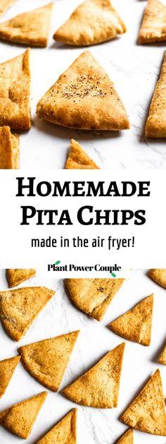 Air Fryer Recipes Vegan, Air Frier Recipes, Air Fryer Dinner Recipes, Air Fryer Healthy, Vegan Recipes Easy, Snack Recipes, Pita Chips Recipe, Homemade Pita Chips, Vegan Appetizers