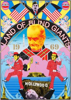 Land of Blind Giants. Art by Tadanori Yokoo Japan Illustration, Digital Illustration, Japan Graphic Design, Graphic Art, Graphic Posters, Tadanori Yokoo, Kunst Poster, Japanese Poster, Japan Art