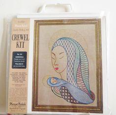Vintage Crewel Embroidery Kit, Madonna and Child Jesus, Marion Nichols Crewel Kit No 135,  70s Stitchery Kit, Religious Art, Inspirational by CatBazaar on Etsy