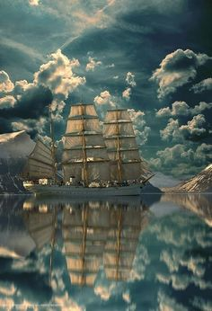 Phenomenal Reflection Pictures on Water Sail Away---- Cool Pictures, Cool Photos, Beautiful Pictures, Unbelievable Pictures, Nature Pictures, Tall Ships, Images Cools, Beautiful World, Beautiful Places