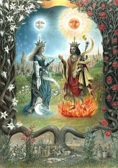 Moon Goddess and Sun God Tarot Card