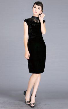 ee1434f57f Silk Velvet Cheongsam Style Little Black Dress