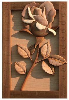 rose intarsia box - wine