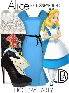 Don't be late to your holiday party when you where this Alice in Wonderland inspired outfit. | Disney Fashion | DisneyFashion Outfits | Disney Outfits | Disney Outfits Ideas | Disneybound Outfits |