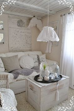 Make a small space cozy...love the wooden painted ceiling. And the super pale monochrome.... | poshhome.info