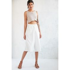 Native Youth Seersucker Culotte Pant (105 CAD) ❤ liked on Polyvore featuring pants, capris, white crop pants, cropped pants, white pants, wide leg trousers and high waisted wide leg pants