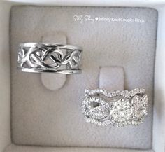 OH MY GOSH!!! Why must I be so obsessed with infinity knots?! Sooooo pretty!!!!  Infinity knot Engagement Ring With Wedgin Matching by SillyShiny, $2,049.00