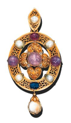 A MULTI-GEM OVAL PENDANT   The central raised filigree and beading quatrefoil in the Etruscan Revival style with central star sapphire and diamond points to the pearl and sapphire surround with open scrollwork intersections, suspending a moonstone drop, circa 1865, in its original Hennell, Frazer & Haws, London, brown leather fitted case