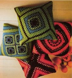 sew large granny squares together to make pillow cushions