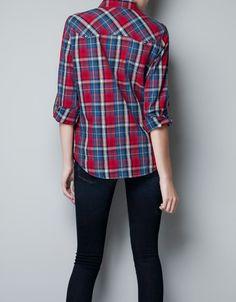 CHECKED SHIRT WITH STUDDED YOKE - Shirts - Woman - ZARA United States