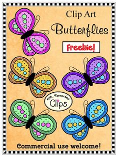 Freebie! Clip Art Butterflies! Classroom Clipart, Classroom Freebies, Free Coloring, Coloring Pages, Cliparts Free, Cool Fonts, Fun Fonts, Projects To Try, Creations