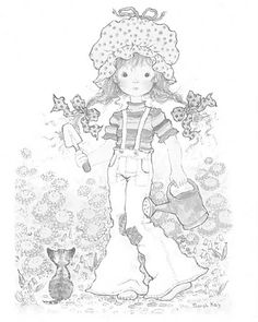 sarah kay coloring pages Cat Coloring Page, Coloring Book Pages, Holly Hobbie, Zentangle, Sara Kay, Disney Colors, Black And White Drawing, Penny Black, Cute Illustration