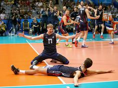 Maxwell Holt and Aaron Russell celebrate victory after the FIVB World League Group 1 Finals third place match against Poland in Rio de Janeiro, Brazil.  Matthew Stockman, Getty Images