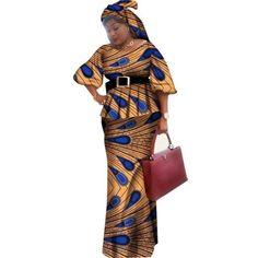 Ankara top with long skirt – Afrinspiration African Fashion Ankara, Latest African Fashion Dresses, Latest Outfits, Long African Dresses, African Print Dresses, African Tops, African Women, African Attire, African Wear