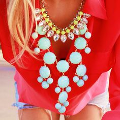 Bright colors, necklace & jean shorts.  <3