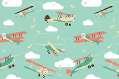 Bi-Plane Pattern Wall Mural, custom made to suit your wall size by the UK's No.1 for murals. Custom design service and express delivery available.