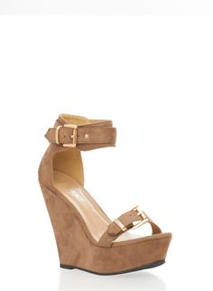 c20cfbb459e0 Ankle Strap Wedges in Faux Suede