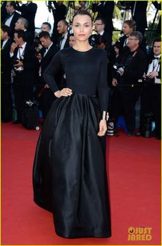 #Cannes_2013_Best_Dressed Samantha Barks in a long sleeve black number with a ball gown skirt by Christian Dior. Cannes Film Festival 2013. Photo: Pascal Le Segretain, Getty Images
