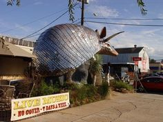 Goode Co. Armadillo Palace - take your photo with their giant, mirrored armadillo on Kirby Dr. near Bissonnet, right here in Houston.