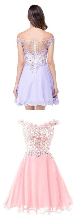 Tulle Prom Dresses,Short Prom Dress,Appliques Beaded Homecoming Dress