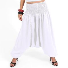 INDIAN ALIBABA 100% COTTON WHITE PLAIN HAREM PANTS UNISEX TROUSERS BAGGIE HIPPIE #New #AlibabaHaremPantsUnisexTrousersAfgani