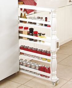 Best Kitchen Appliance Storage Rack Design Ideas For You 23 – Home Design Can And Spice Rack, Spice Rack White, Spice Racks, Spice Rack On Wheels, Spice Rack Next To Stove, Pull Out Spice Rack, Cabinet Spice Rack, Rack Shelf, Liquor Cabinet