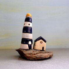 Ceramic miniature  Blue and white lighthouse  Miniature by ednapio