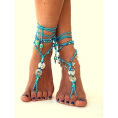 """Tahiti"""" Barefoot Sandals, Barefoot Beach Jewelry, gemstones Hippie... ($40) ❤ liked on Polyvore featuring shoes, sandals, beach shoes, hippie shoes, hippy sandals, boho shoes and toe thongs"""