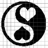 Ying Yang Crochet Graph - via Cross Stitch Designs, Cross Stitch Patterns, Pixel Art, Beading Patterns, Crochet Patterns, Cross Stitch Heart, Fuse Beads, Yin Yang, Plastic Canvas Patterns