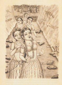 Radha and gopis Krishna Names, Krishna Hindu, Radhe Krishna, Krishna Leela, Realistic Drawings, Art Drawings, Radha Rani, Krishna Pictures, Sketch Painting